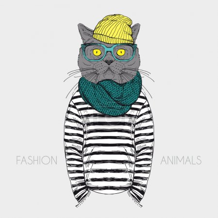 Fashion anthropomorphic character of cat