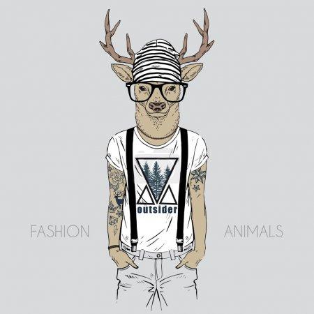 Illustration pour Illustration de cerfs habillés en t-shirt avec citation - image libre de droit