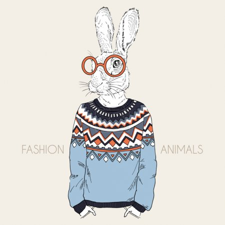 Illustration for Fashion illustration of hare dressed up in jacquard pullover - Royalty Free Image