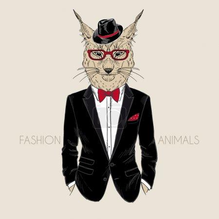 Illustration pour Illustration de mode de lynx habillé en smoking - image libre de droit