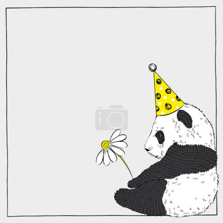 Illustration for Hand drawn illustration of cute panda baby with a flower in festal hat - Royalty Free Image