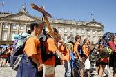 Santiago de Compostela, Spain. Main city square with young Catholic pilgrims on Saint James Day on July 25, 2010.