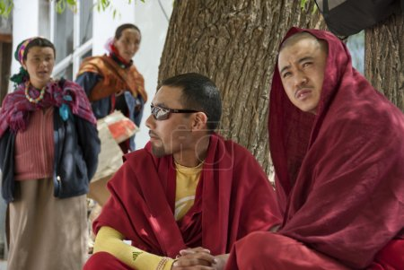 Buddhist monks take part at 4-days puja ceremony in Leh, Ladakh, India.