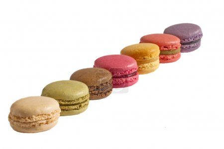 Multicolored macarons isolated.