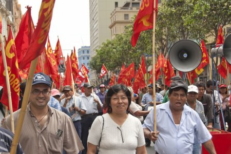 People take part at May Day demonstration in Lima, Peru.