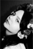 Digital halftone portrait of beautiful girl.  illustration.