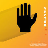 Stop hand Flat modern web button with long shadow and space for your text Vector EPS10