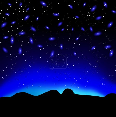 Illustration for Stars in the sky at night over the mountain vector background - Royalty Free Image