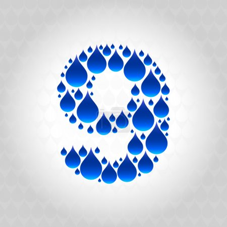 Alphabet made of water droplets. Numbers