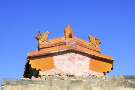 The ancient building eaves in the Eastern Royal Tombs of the Qin