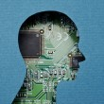 Cardboard human head cutout revealing circuit boar...