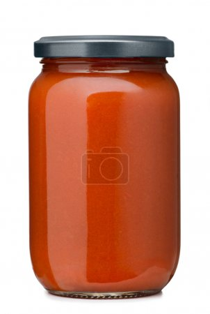 Photo for Tomato sauce jar on white background - Royalty Free Image