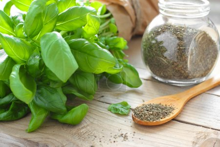 Photo for Fresh and dried basil in glass jar - Royalty Free Image