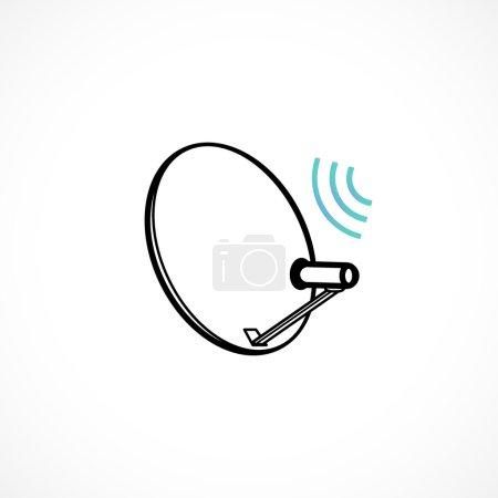 Satellite dish icon isolated