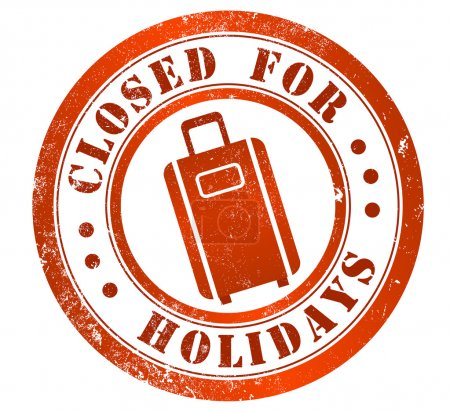 Photo for Closed for holidays grunge stamp, in british english language - Royalty Free Image