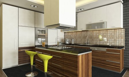 Photo for Modern kitchen design with render - Royalty Free Image