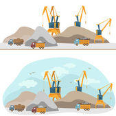 Working units and cranes (vector)