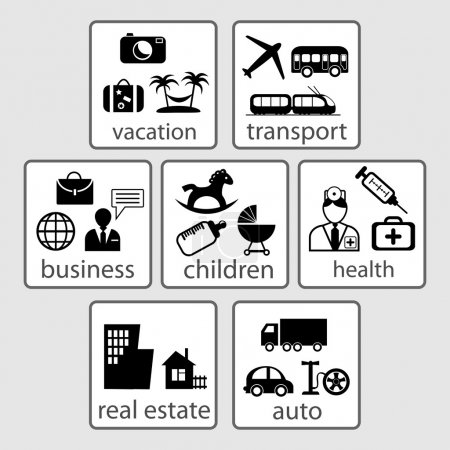 Illustration for Set of icons on categories: health, business, real estate, transport, vacation. (vector) - Royalty Free Image