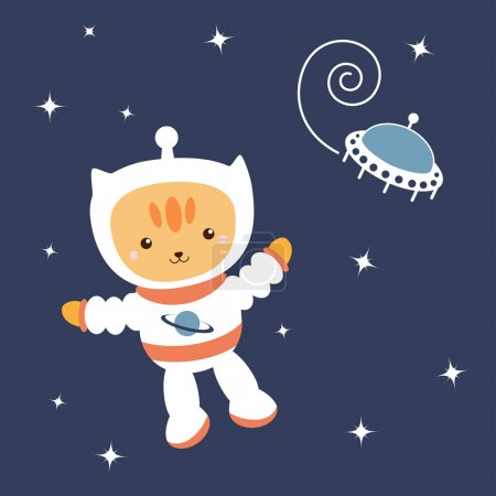Illustration for Astronaut Cat in space (vector) - Royalty Free Image