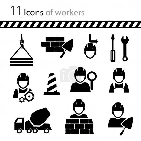 Illustration for Set of icons of workers - Royalty Free Image