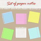 Set of different colored paper notes
