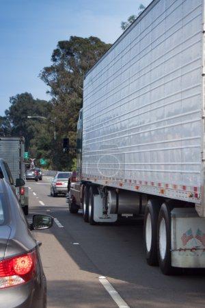 Big Rig Sitting in Traffic