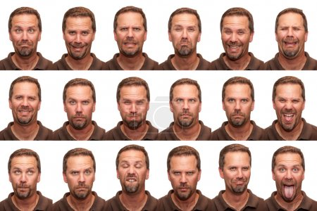 Photo for A middle aged man in his early forties posing for 16 different facial expressions. - Royalty Free Image