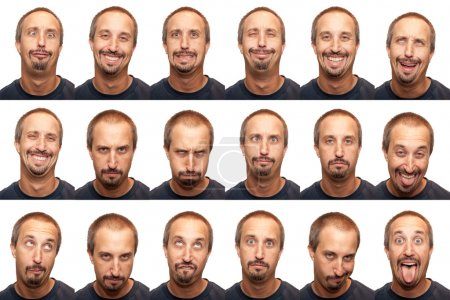 Photo for A thirty something aged man posing for 16 different facial expressions. - Royalty Free Image