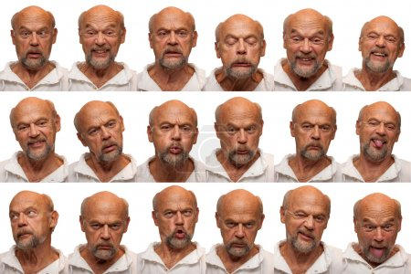 Photo for An older man in his sixties poses for 16 facial expressions. - Royalty Free Image