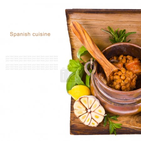 Typical Spanish dish - soup of lentils in an old c...