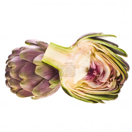 Large purple fresh artichoke and a half