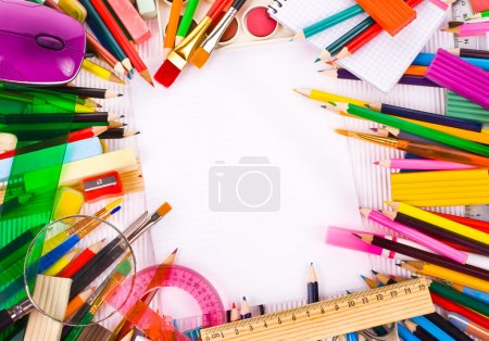 Back to school concept Photo of Items for school student gear over white Corrugated cardboard background -