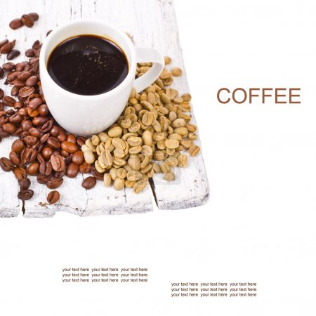 Freshly brewed black coffee in a white cup and grain unground coffee
