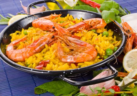Traditional spanish rice - paella closeup typical Spanish food