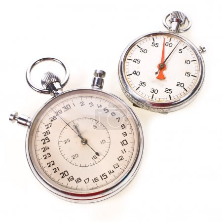 Large and small hand-held stopwatches