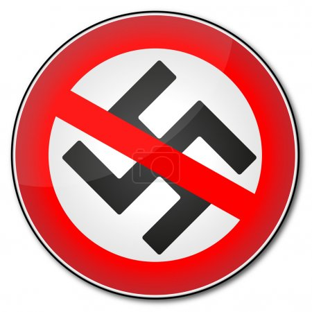 Roadlike sign Stop Nazism with crossed swastika sy...