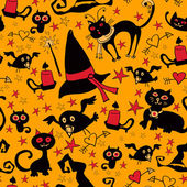 Halloween cartoon seamless texture with cats and crows