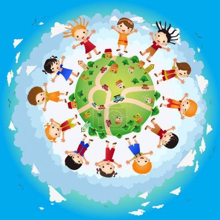 Illustration pour Enfants autour de la terre - image libre de droit