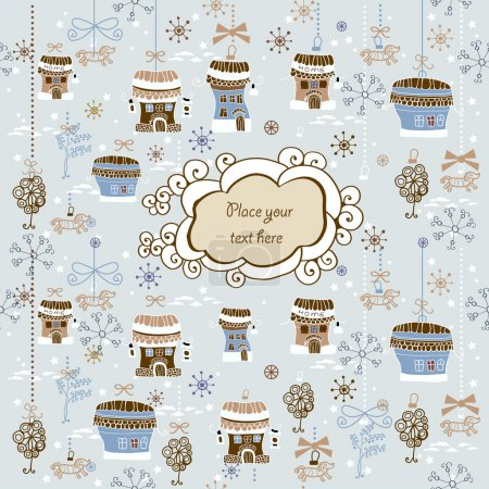 Illustration for Winter background with houses. Card with label - Royalty Free Image