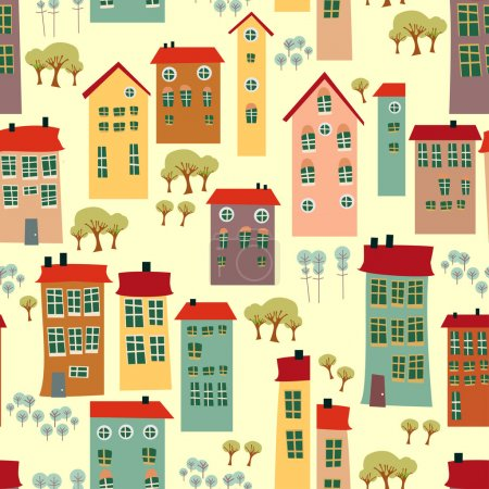 Seamless pattern with cute houses