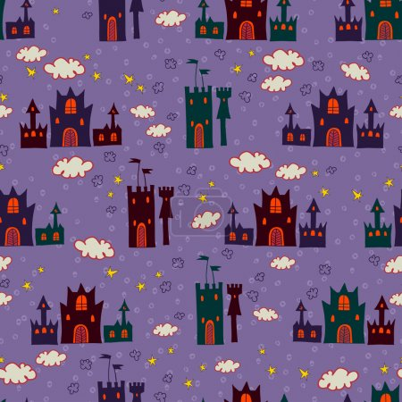 Seamless with cartoon castle pattern