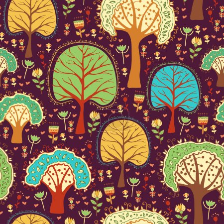 Forest wallpaper with cartoon trees