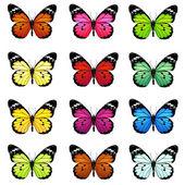 Sada barevné vektorové motýlů