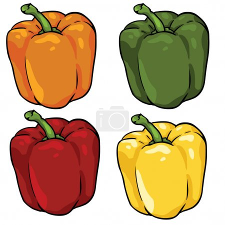 Vector set of color paprika