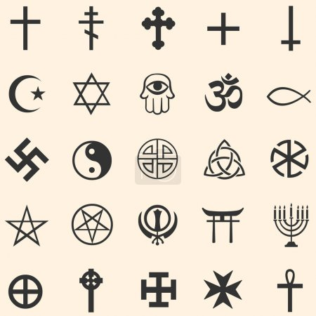 Vector set of religious symbols