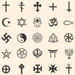 Vector set of religious symbols: Christianity, Isl...
