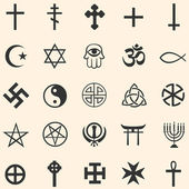 Vector set of religious symbols: Christianity Islam Orthodoxy Catholicism occultism Buddhism paganism