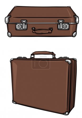 Illustration for Vector old brown leather suitcase - Royalty Free Image