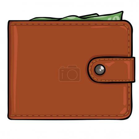 Illustration pour Portefeuille en cuir marron vectoriel - image libre de droit