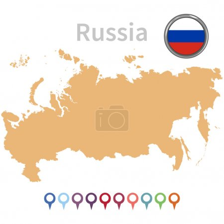Vector Russian map and flag